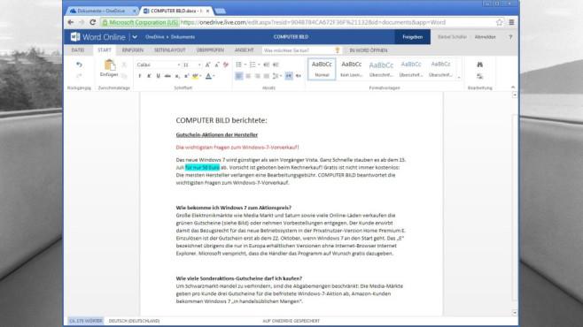 Microsoft Office Online ©COMPUTER BILD, Microsoft