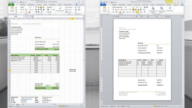 Rechnungsvorlage für Excel und Word ©COMPUTER BILD, Jan Klitsgaard