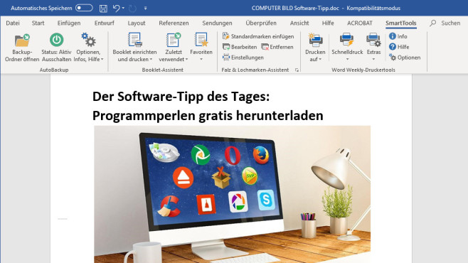 SmartTools Falz- und Lochmarken-Assistent für Word ©COMPUTER BILD