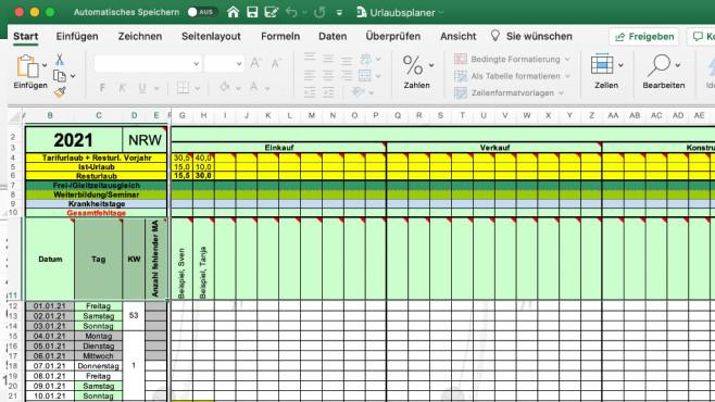 Urlaubsplaner (Excel-Vorlage) ©COMPUTER BILD