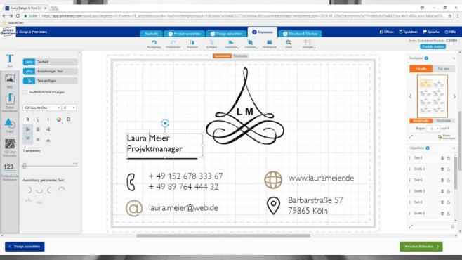 Visitenkarten kostenlos erstellen ©COMPUTER BILD, Avery Dennison Zweckform