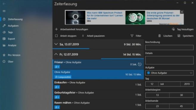 WorkingHours (Windows-10-App) ©COMPUTER BILD