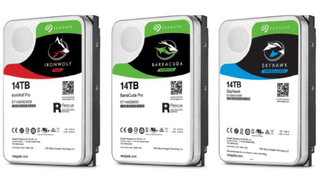 Die neuen Festplatten von Seagate haben eine Speicherkapazität von 14 Terabyte. Der Hersteller hat vier insgesamt vier HDDs im Angebot.©Seagate