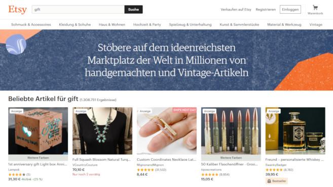 Gutscheine und Rabatte bei Etsy©Screenshot www.etsy.com