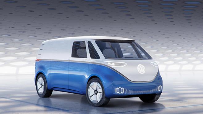 VW I.D. Buzz Cargo: Volkswagen stellt Elektro-Transporter vor Noch ist der E-Transporter VW I.D. Buzz Cargo nur eine Studie, 2022 soll er aber in Serie gehen.©Volkswagen