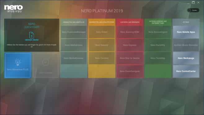 Nero 2019: Neue Startoberfläche©NERO AG