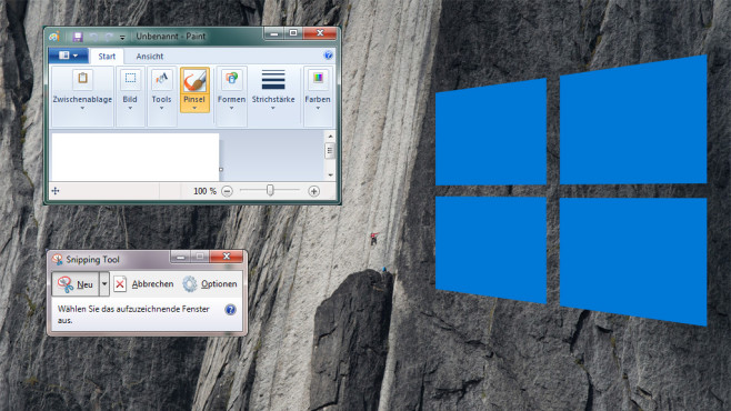 Paint und Snipping Tool in Windows 10 © Microsoft