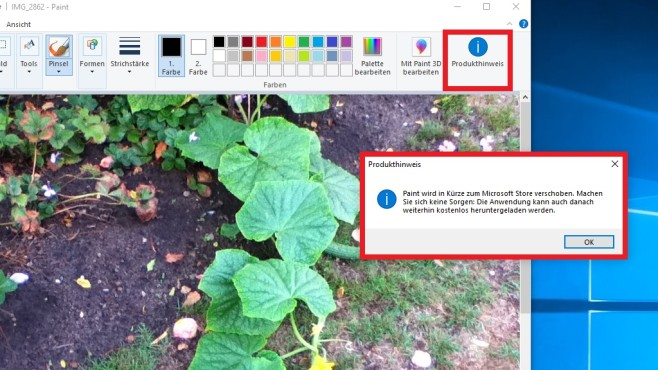 Produkthinweis zu Paint unter Windows 10©COMPUTER BILD