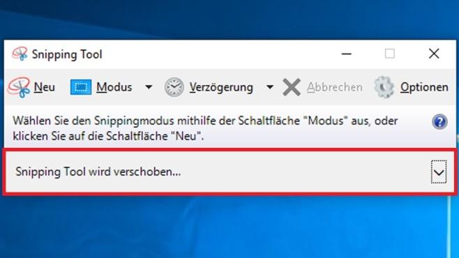 Windows 10: Snipping Tool wird verschoben – verkürzter Hinweis©COMPUTER BILD