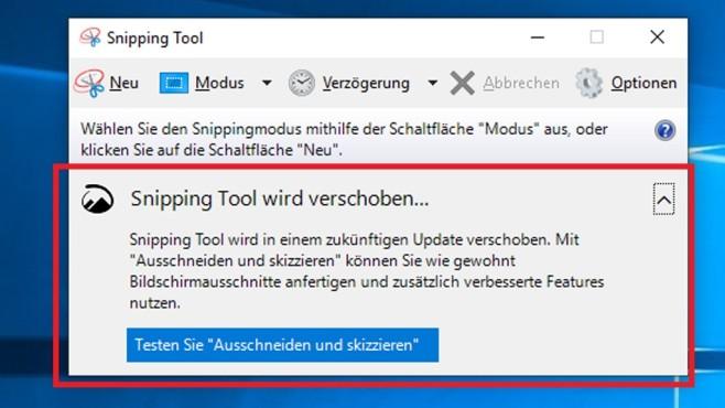 Windows 10: Snipping Tool wird verschoben – vollständiger Hinweis©COMPUTER BILD