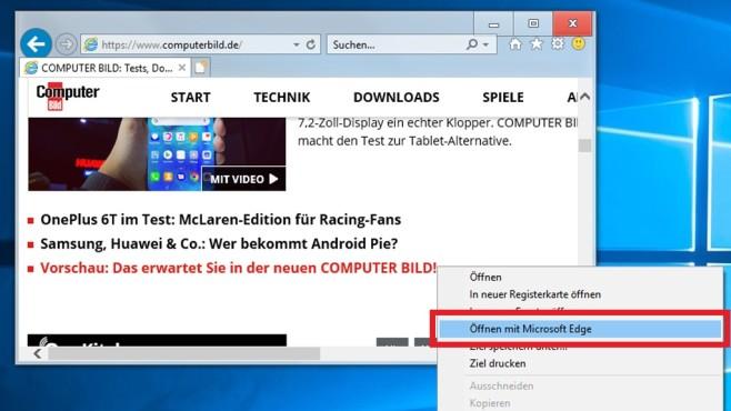 Windows 10 1809: Internet Explorer öffnet per Kontextmenü Edge©COMPUTER BILD
