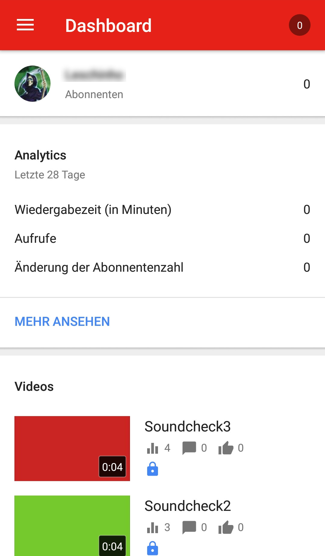 Screenshot 1 - YouTube Studio (App für iPhone & iPad)