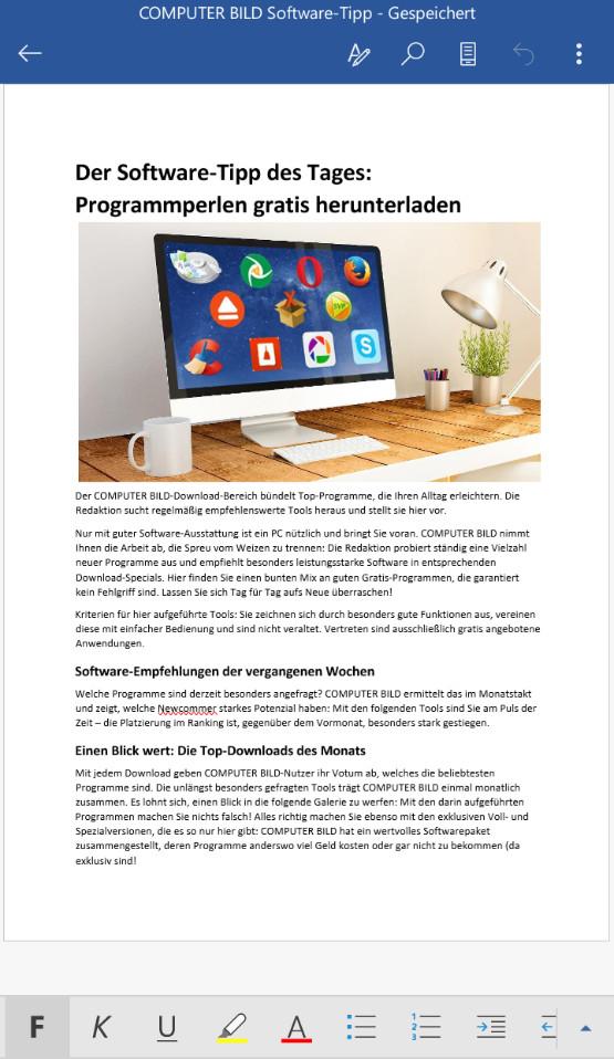 Screenshot 1 - Microsoft Word (Android-App)
