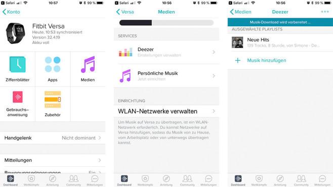 Deezer in Fitbit-App©Screenshots aus Fitbit-App, COMPUTER BILD