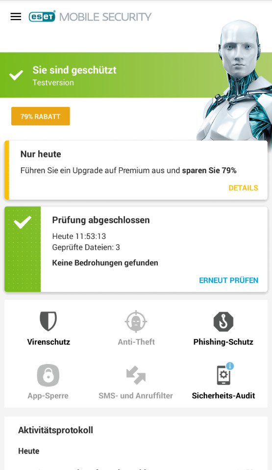 Screenshot 1 - ESET Mobile Security & Antivirus (Android-App)