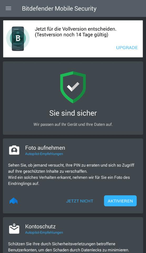 Screenshot 1 - Bitdefender Mobile Security & Antivirus (Android-App)