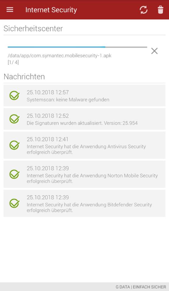 Screenshot 1 - G Data Internet Security Light (Android-App)
