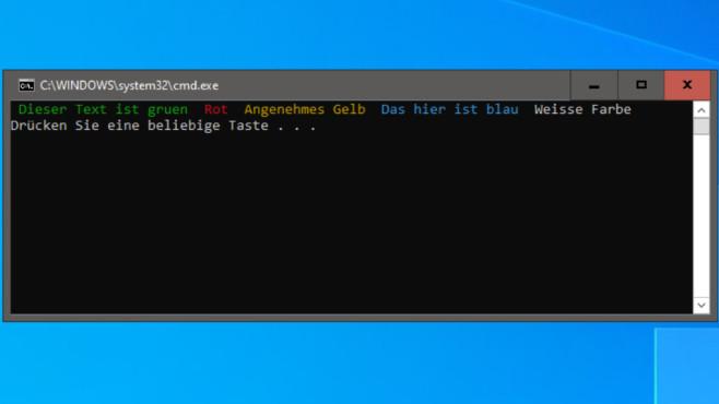 Batch-Dateien erstellen: Befehle und Anfänger- sowie Experten-Tipps Nur Windows 10 führt so eine Batch-Datei ansehnlich aus, Windows 7/8.1 zeigen stattdessen weiße Einheitsfarbe.©COMPUTER BILD