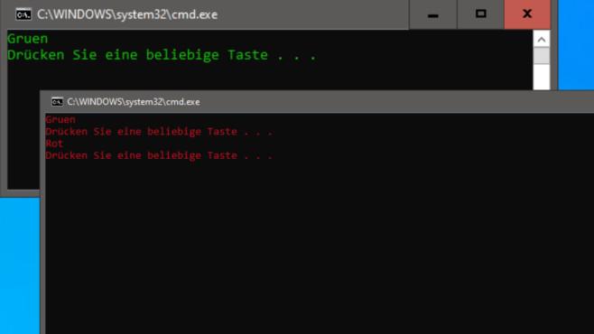 Batch-Dateien erstellen: Befehle und Anfänger- sowie Experten-Tipps Oben sehen Sie die Kommandozeile nach dem Start, unten die Darstellung nach dem Drücken einer Taste.©COMPUTER BILD