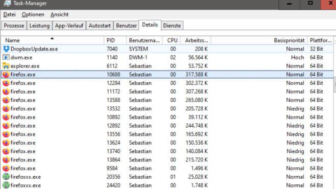 RAM auf gestarteten Prozess prüfen ©COMPUTER BILD