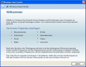 Windows-EasyTransfer (XP nach Windows 7)