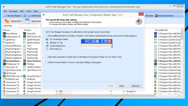 AnVir Task Manager Free: Aktive Programme einsehen ©COMPUTER BILD