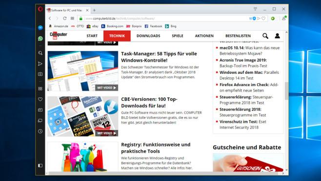 Opera: Schneller Browser mit vielen Extras ©COMPUTER BILD