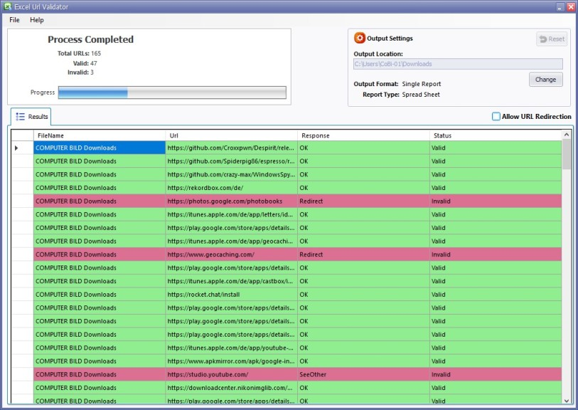 Screenshot 1 - Excel URL Validator