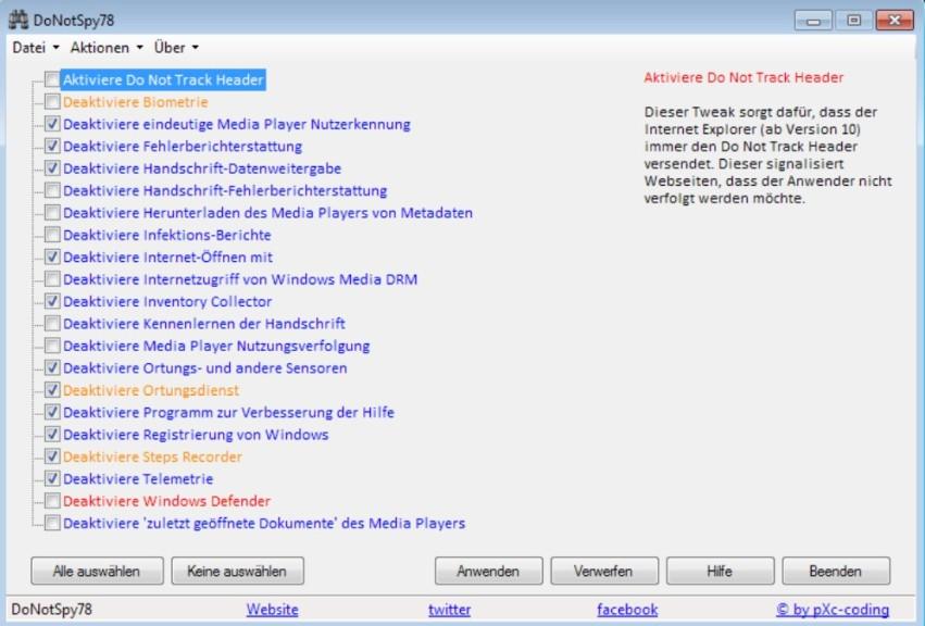 Screenshot 1 - DoNotSpy78