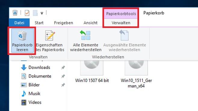 Windows 10 1809: Papierkorb nun anders zu leeren – durch geänderte Ribbons©COMPUTER BILD