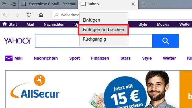 """Microsoft Edge: """"Einfügen und weiter"""" – welches Windows 10 hat es?©COMPUTER BILD"""