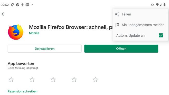 """Firefox-Update: Fragen und Antworten zum Mozilla-Browser Aktivieren Sie im Google Play Store die Option """"Autom. Update an"""", aktualisiert sich die Firefox-App unter Android selbstständig.©Mozilla / Google"""