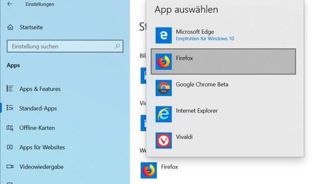 """Firefox-Update: Fragen und Antworten zum Mozilla-Browser Firefox als Standardbrowser in Windows 10? Dazu müssen Sie den Mozilla-Browser einfach in den Windows-Einstellungen als """"Standard-App"""" auswählen.©Microsoft"""