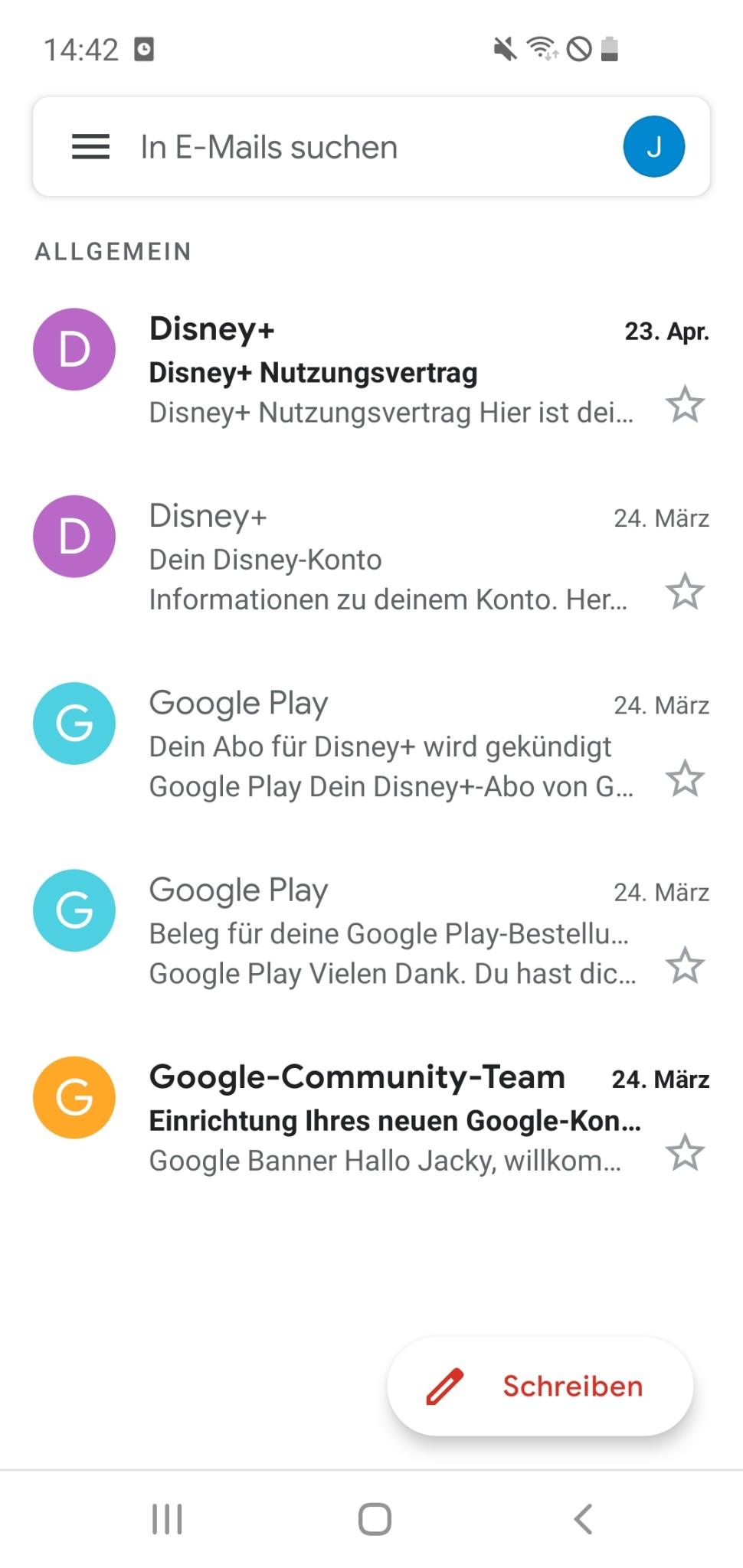 Screenshot 1 - Gmail (Android-App)