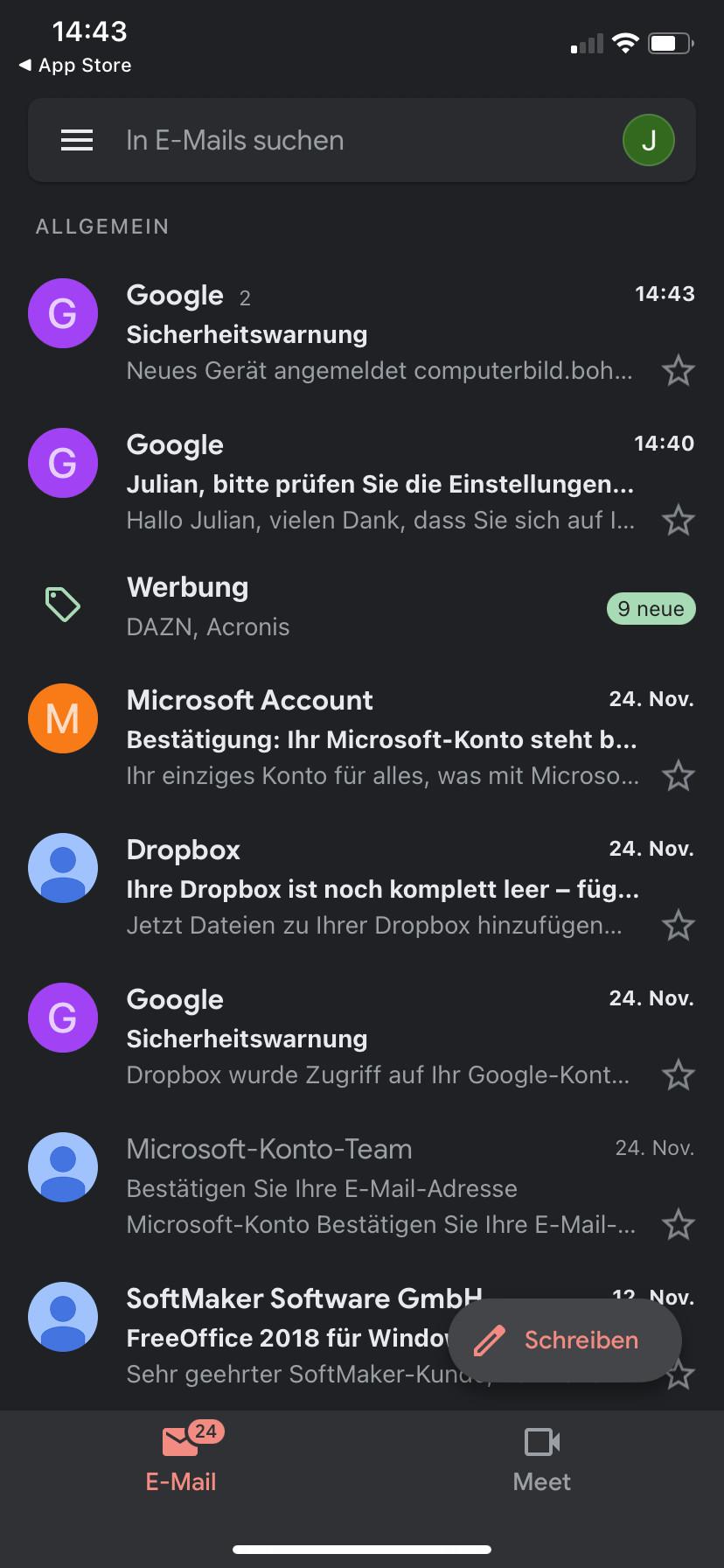 Screenshot 1 - Gmail (App für iPhone & iPad)