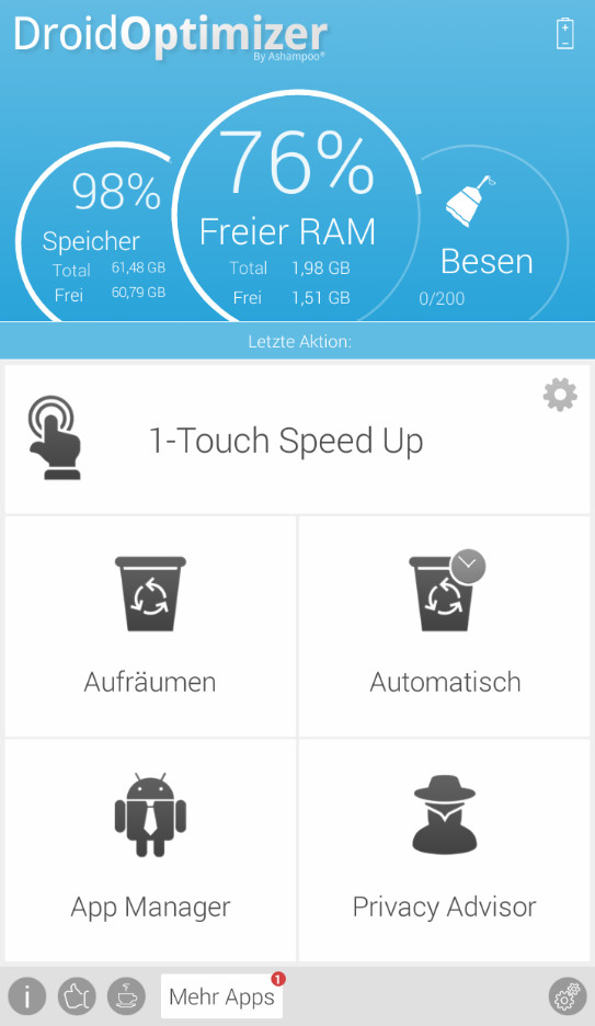 Screenshot 1 - Ashampoo Droid Optimizer (Android-App)