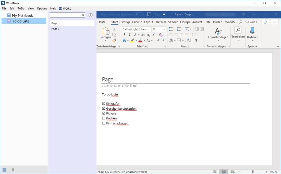 Screenshot 1 - WordNote