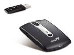 """Ultraflache Notebook-Maus mit praktischen Zusatzfunktionen Die """"Genius Traveler 915"""" eignet sich dank der flachen Bauweise optimal f�r den mobilen Einsatz am Notebook. Der USB-Empf�nger kann sicher im Maus-Geh�use verstaut werden."""