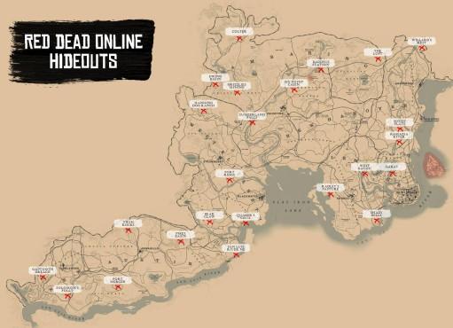 """Red Dead Online: Tipps & Tricks für den perfekten Einstieg Der findige Reddit-Nutzer """"Rock1Jump"""" hat eine KArte mit allen Gang-Hideouts erstellt. (Quelle: )©Rockstar Games Reddit/Rock1Jump"""