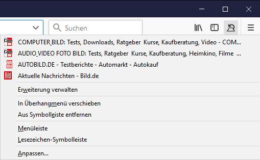 Screenshot 1 - Geschlossenen Tab wiederherstellen für Firefox