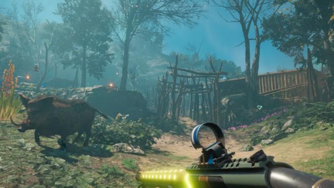 Far Cry – New Dawn im Test: Kunterbunte Postapokalypse Mit der Zeit spielen Sie Spezialisten frei, die nicht zwangsläufig Menschen sind. Der Keiler Horatio ist ein taffer Kerl und mäht alles nieder. Ein toller Begleiter!©Ubisoft