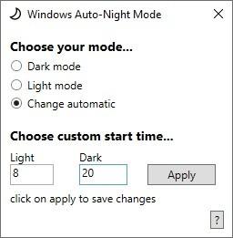 Screenshot 1 - Windows Auto Night Mode