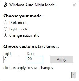 Windows Auto Night Mode