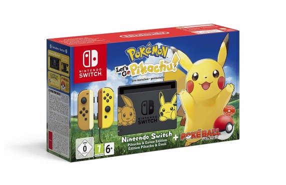 "Nintendo Switch: Die besten Bundles Nintendo Switch inklusive ""Pokémon – Let's Go Pikachu"" und Pokéball Plus. Wer möchte, sichert sich auch direkt eine Nintendo-Online-Mitgliedschaft für zwölf Monate dazu. © Nintendo"