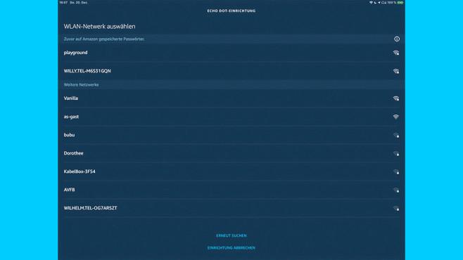 Amazon Echo einrichten: WLAN-Netzwerk auswählen©Amazon