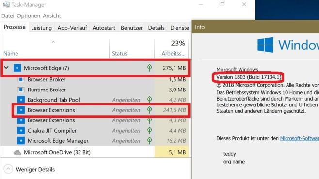 Windows 10 1809: Zügelt den RAM-Verbrauch von Edge©COMPUTER BILD