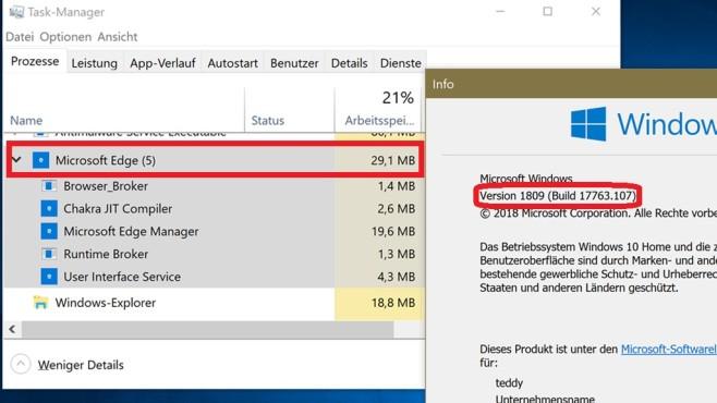 Windows 10 1809: Zügelt den RAM-Verbrauch von Edge Windows 10 1809: Nach einem Windows-Upgrade (1803 auf 1809) sind die Add-ons noch da, gieren aber nicht mehr nach RAM. Die Zahl der Browser-Unterprozesse ist gesunken.©COMPUTER BILD