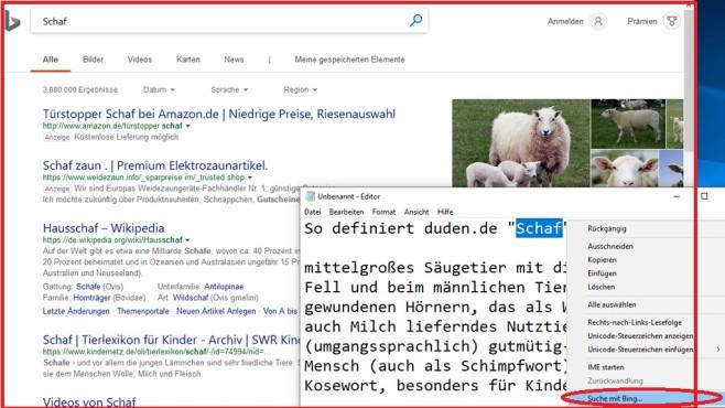 Windows 10 1809: Editor sucht mit Bing©COMPUTER BILD