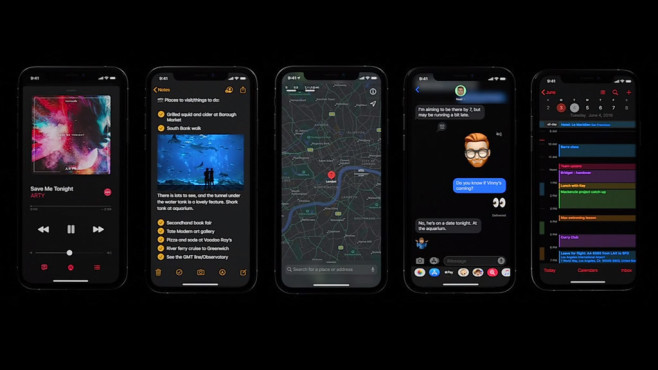 Dark Mode von iOS 13 © Apple