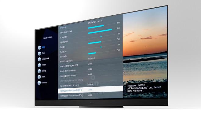 """Panasonic GZW2004 im Test: OLED-Fernseher mit Raumklang Die beste Bildqualität erzielte der Panasonic GZW2004 im Test im Bildmodus Professionell 1. Die weiteren Optionen können Nutzer getrost ignorieren. Ausnahmen: In den Bildschirmeinstellungen gehört der Overscan unbedingt ausgeschaltet, außerdem lassen sich HDR-Filme gut anpassen: """"Dynamischer Effekt"""" bewirkt etwas verstärkten Kontrast, """"Auto-Helligkeit"""" passt den Bildschirm an das Raumlicht an und """"Brightness Enhancer"""" macht düstere Konofilme tageslichttauglich.©Panasonic, COMPUTER BILD"""